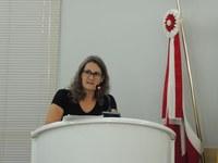 Visita de Pedro Uczay é comentada na tribuna pela vereadora Marilete Bortoli.
